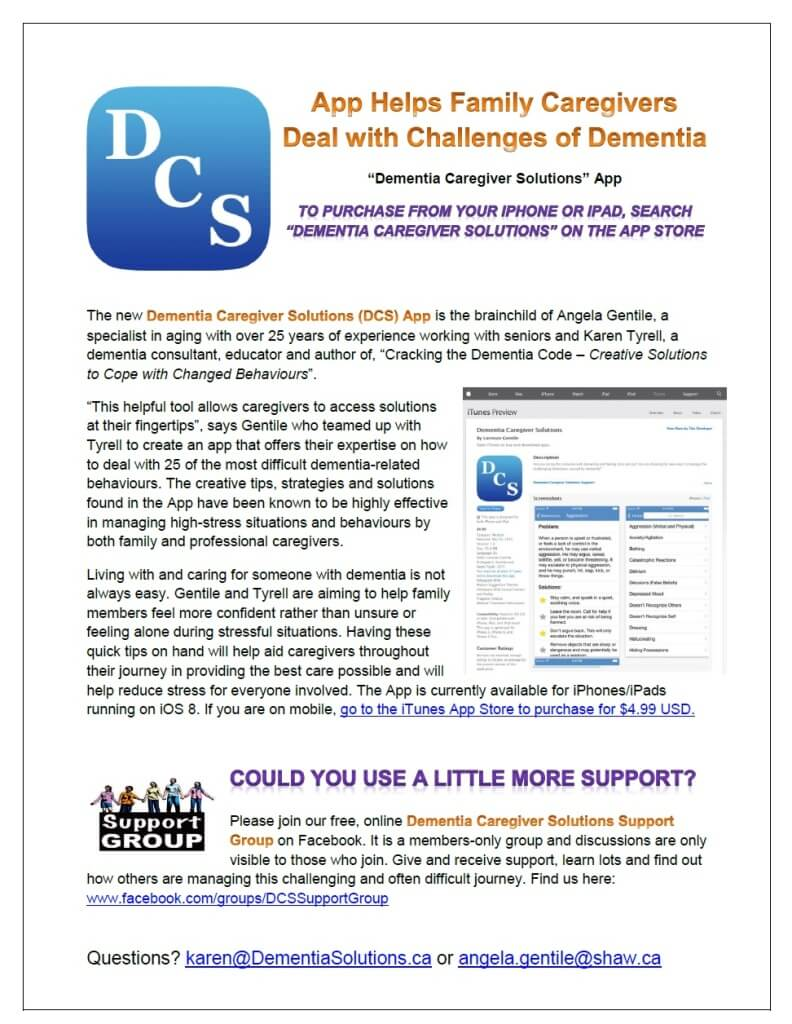 Onepage Description Of The App Dementia Caregiver Solutions App Page  Personalized Dementia How To Create An